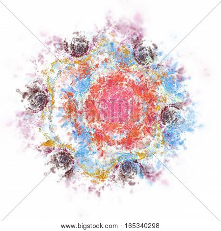 Abstract Stylized Rose Flower On White Background. Fantasy Fractal Design In Red, Blue And Grey Colo
