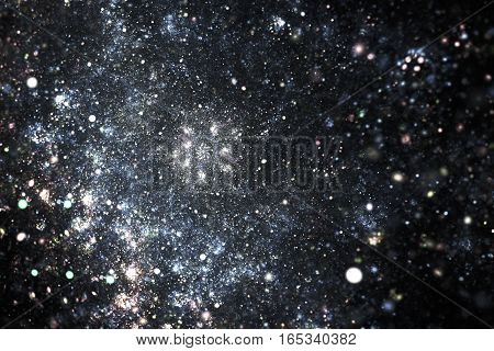Glowing Galaxy. Abstract Space Background. Fantasy Fractal Art. 3D Rendering.
