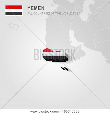 Yemen painted with flag drawn on a gray map.