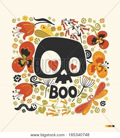 Funny cartoon human skull silhouette with heart eyes and word Boo surrounded by colorful flowers and insects. Day of the Dead holiday poster. Vector illustration for postcard greeting card print.