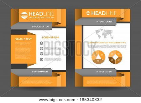 orange brochure flyer layout template a4 size front and back page vector background