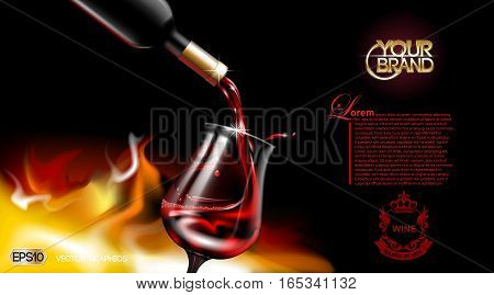 Vector Realistic Pouring Red Wine Glass. Logo advertise mock up. Vibrant detailed background with place for your branding. 3d illustration for future design of your product