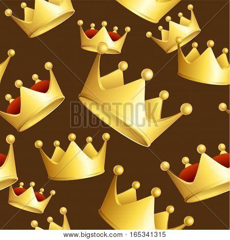 Golden Crowns Background Pattern on a Brown Awards for Winner. Vector illustration