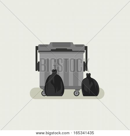 Dumpster with black garbage bags in flat style.