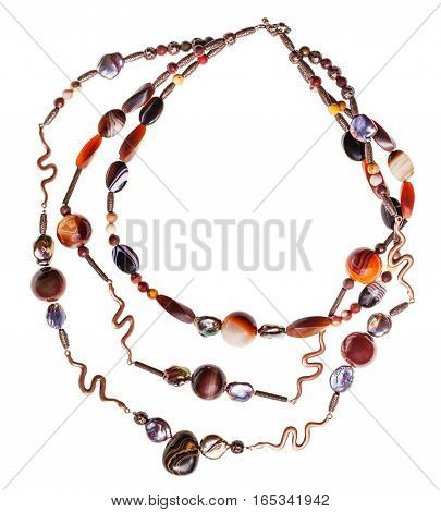 Necklace From Agate Natural Gems And Stromatolite
