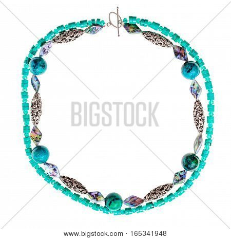 Necklace From Chrysocolla Natural Gem Stone Balls