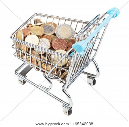 Shopping Carriage With Euro Coins Isolated