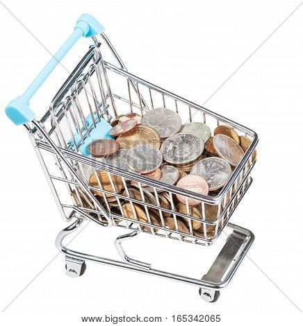 Shopping Trolley With Us Coins Isolated