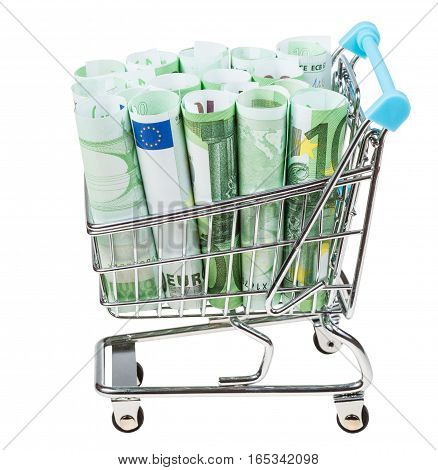 Shopping Cart With Euro Banknotes Isolated