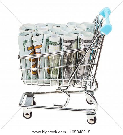 Shopping Cart With Dollar Banknotes Isolated