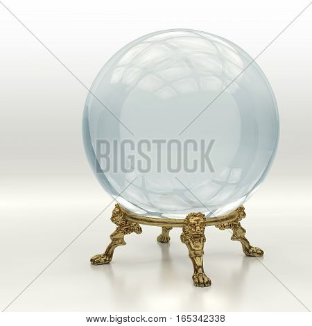 Very high resolution 3D rendering of a crystal magic ball