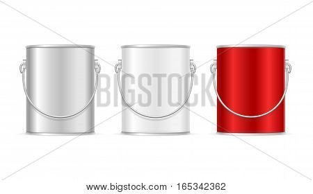 Color Paint Steel Can Bucket Set for Home Renovation and Interior Design. Vector illustration