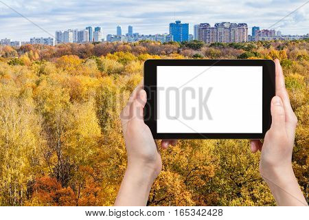 Tablet With Cut Out Screen With Yellow Urban Park
