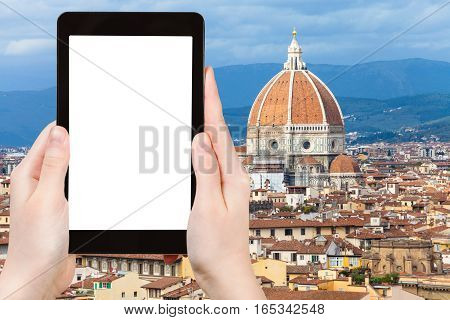 Tourist Photographs Cathedral In Florence City