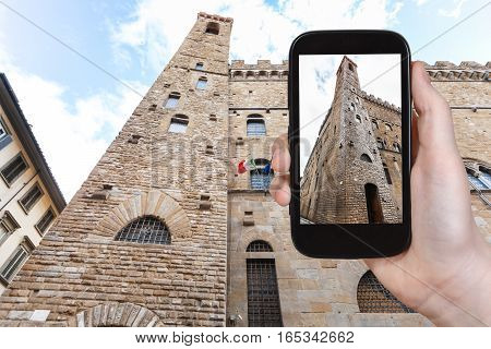 Tourist Photographs Bargello Palace In Florence