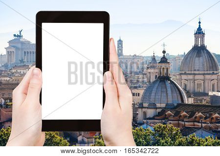 Tourist Photographs Skyline Of Rome Town