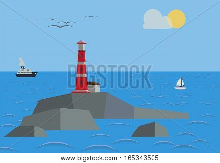 Rock in the sea with lighthouse. Vector illustration.