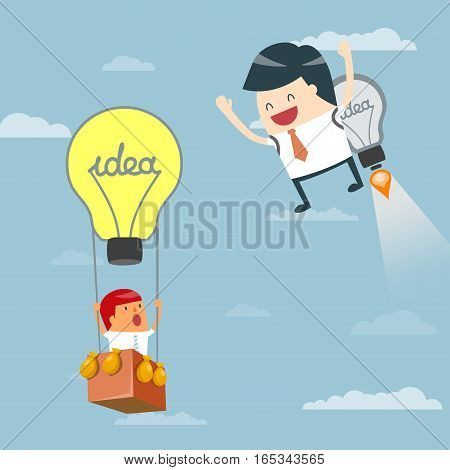 Business moves faster with a idea rocket. Businessman startup Progressive Ideas Business concept - vector illustration