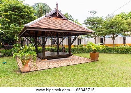 Wooden gazebo in the hotel on Karon beach Phuket islandThailand