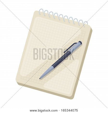 Notebook and pen icon in cartoon design isolated on white background. Hipster style symbol stock vector illustration.