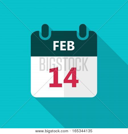 February 14 calendar icon. Valentines day vector illustration with long shadow.