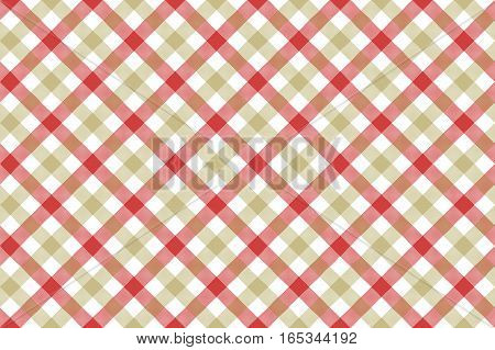 Red beige check diagonal fabric texture background seamless pattern. Vector illustration. EPS 10.