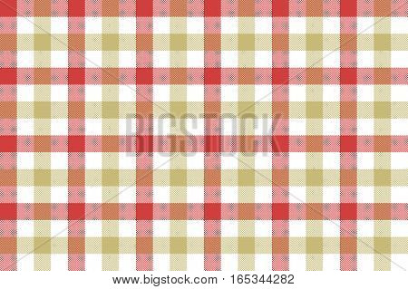 Red beige check fabric texture background seamless pattern. Vector illustration. EPS 10.
