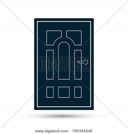 Door icon vector black illustration isolated on white.