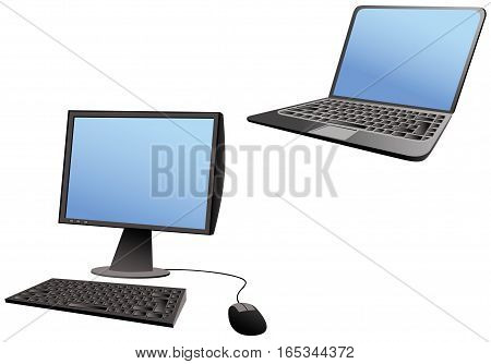 Two different illustrations of computers - one laptop and one desktop. Both with blank screens for your own messages.
