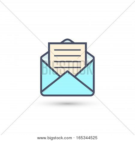 Envelope with letter icon vector isolated color illustration.