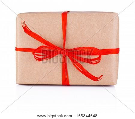 Gift in kraft paper tied red braid Isolated on white background