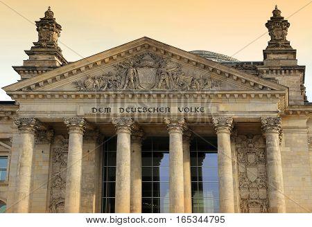 Reichstag building seat of the German Parliament (Deutscher Bundestag) in Berlin Germany