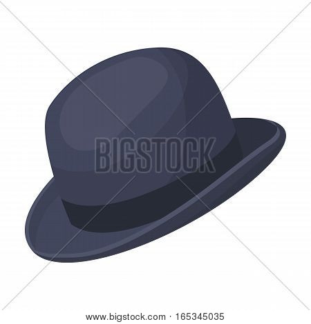 Bowler hat icon in cartoon design isolated on white background. Hipster style symbol stock vector illustration.