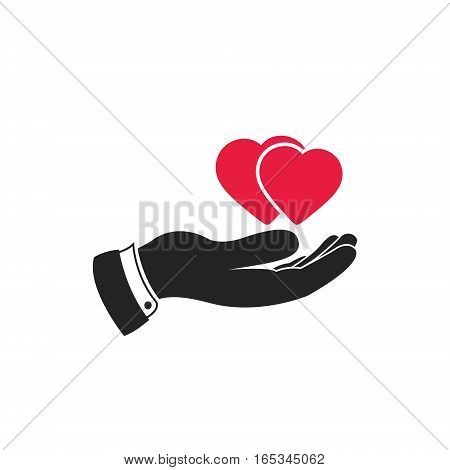 Hearts in hand. Web vector icon isolated on white.