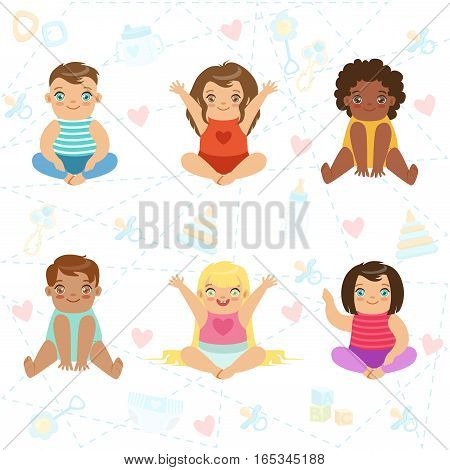 Adorable Big-Eyed Babies Sitting And Smiling, Set Of Cartoon Happy Infant Characters. Little Kids, Boys And Girls On The Background With Hearts Vector Flat Illustration.