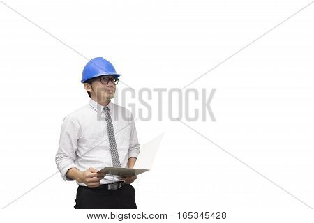 The construction engineer hold the paper with the white background