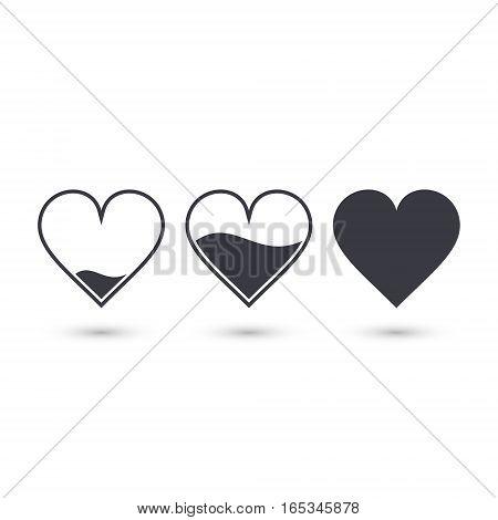 Different heart rating level illustration vector set
