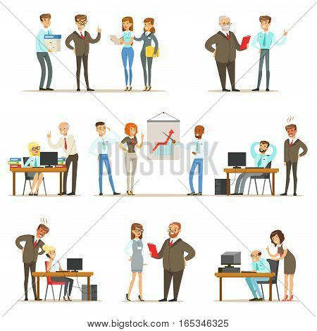 Big Boss Managing And Supervising The Work Of Office Employees Collection Of Top Manager And Workers Illustrations. Smiling Cartoon Characters Doing The Office Job Under Control Of Chief Executive.