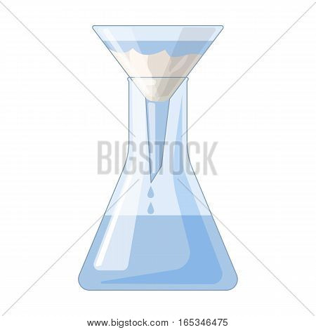 Filtration of water solution in a conical flask icon in cartoon design isolated on white background. Water filtration system symbol stock vector illustration.