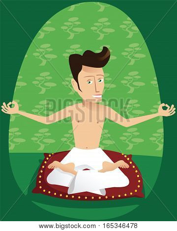 A young man holding a yoga pose on a cushion.