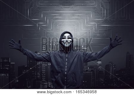 Expression Hooded Man Wearing Mask With Open Arm