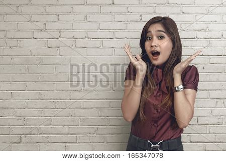 Surprised Asian Business Woman