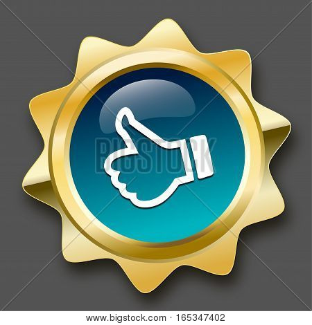 Finest quality seal or icon with thumbs up symbol. Glossy golden seal or button with turquoise color.