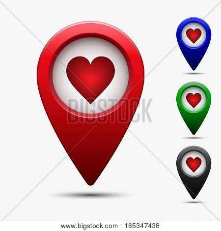 Map pointer with heart icon. Vector illustration