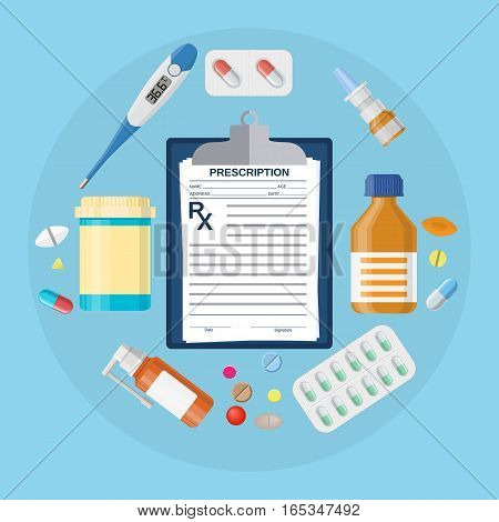 Pills bottles, tablets with medical prescription. Thermometer medicine, pill, drugs, capsules, clipboard with Rx. Vector illustration in flat style
