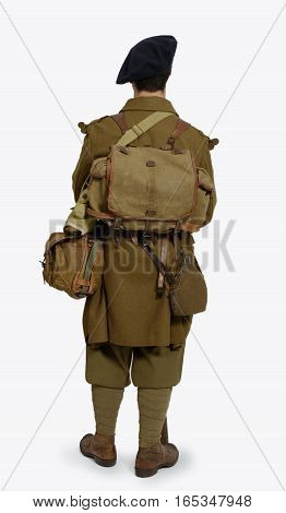 a french Mountain Infantry soldier during the Second World War on a white background rear view