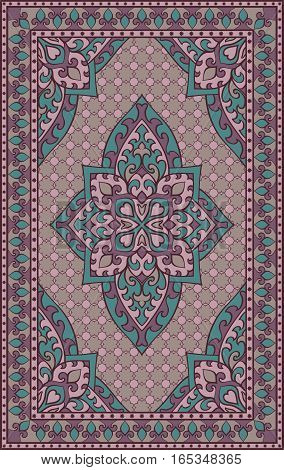 Oriental abstract ornament. Colorful template for carpet cover shawl textile and any surface. Ornamental lilac pattern with filigree details.
