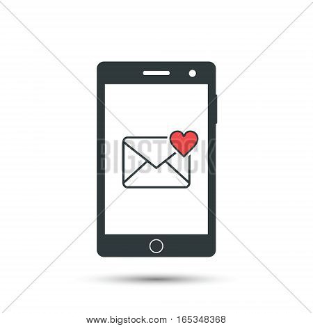 Love message pop-up on smart phone display vector illustration.