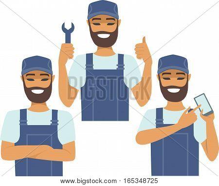 Young confident handyman character vector cartoon set