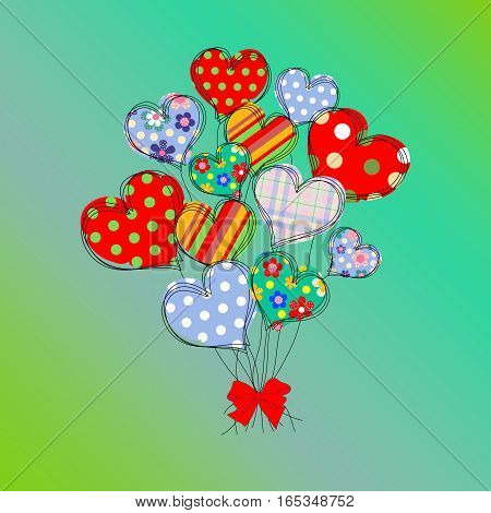 Card with a bouquet of the stylized abstract hearts and place for congratulatory text. Modern background for wedding invitation card for Valentine's Day birthday mother day card about love. EPS10